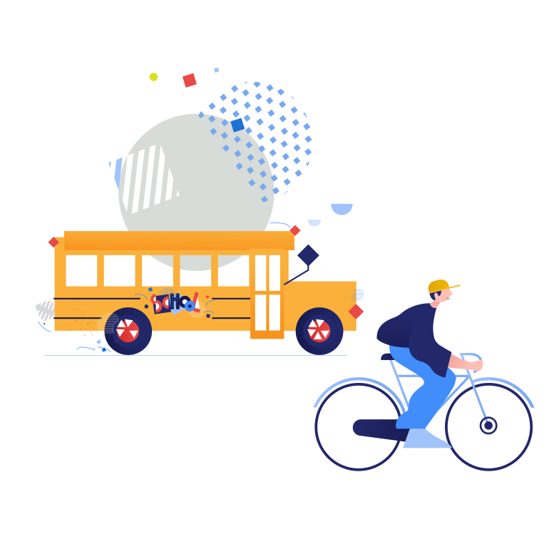 Public transport or bicycle?  Clipart illustration in PNG, SVG