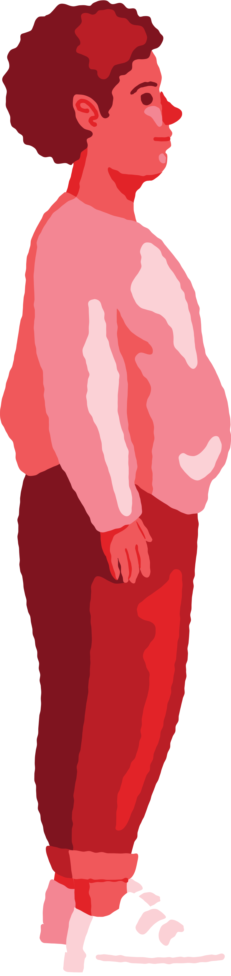 chubby boy standing profile Clipart illustration in PNG, SVG