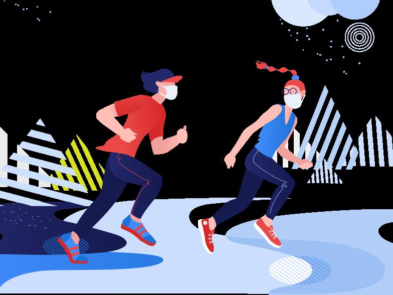 Immagine Vettoriale indossa maschere mentre corri in PNG e SVG in stile  | Illustrazioni Icons8
