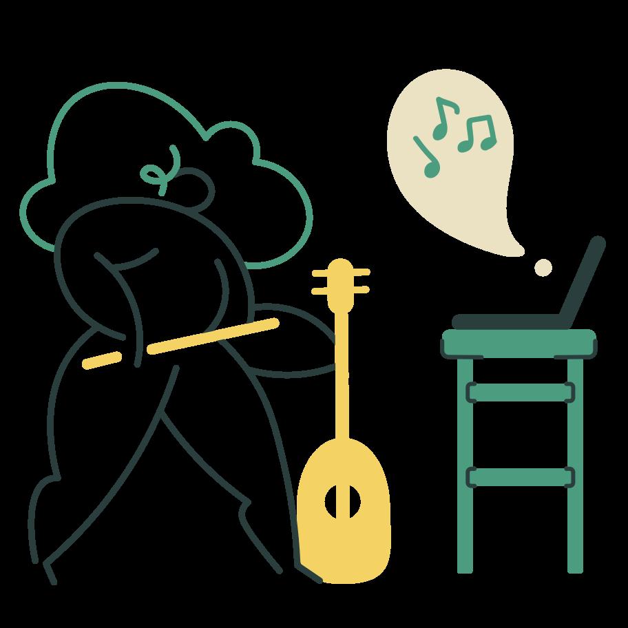Violin online course Clipart illustration in PNG, SVG