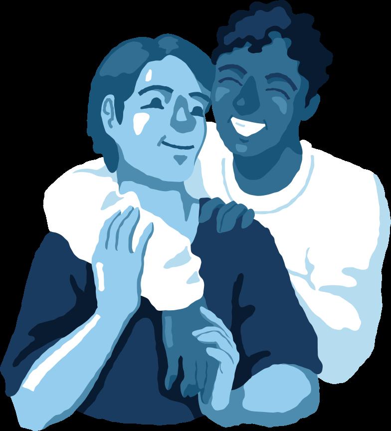 man and man hugging Clipart illustration in PNG, SVG
