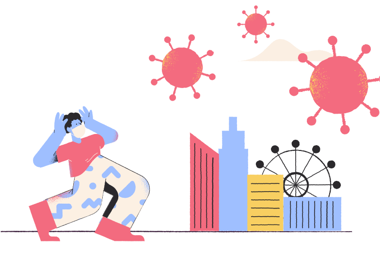 City under attack of COVID-19 Clipart illustration in PNG, SVG