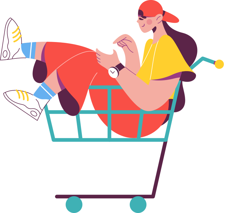 girl in the grocery cart Clipart illustration in PNG, SVG