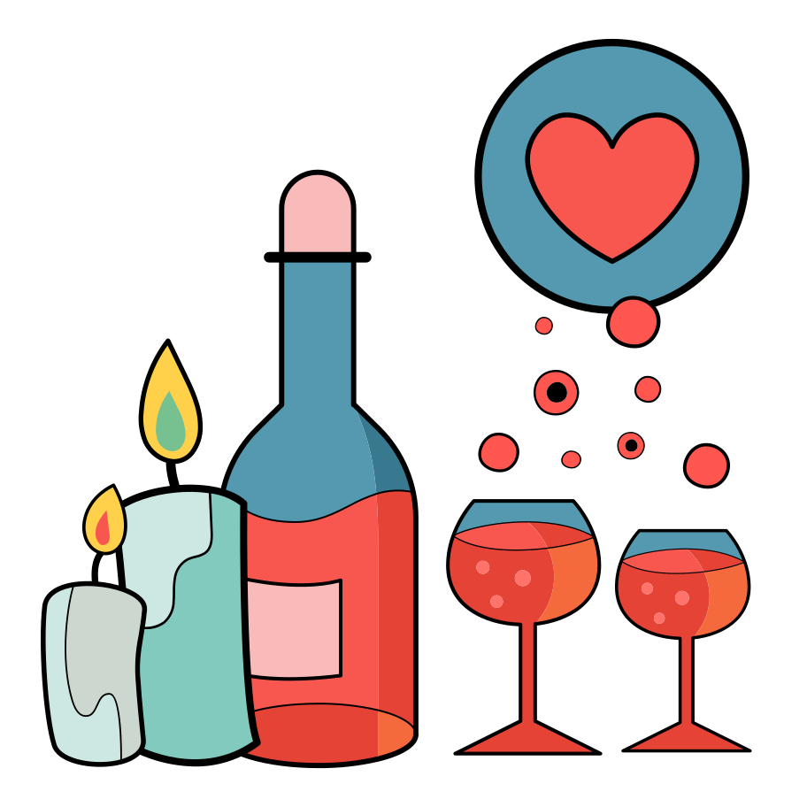 Romantic date Clipart illustration in PNG, SVG
