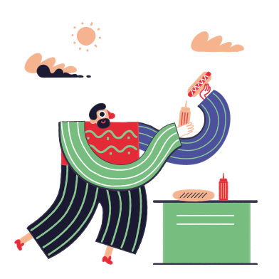 style Hot Dog Vendor images in PNG and SVG | Icons8 Illustrations
