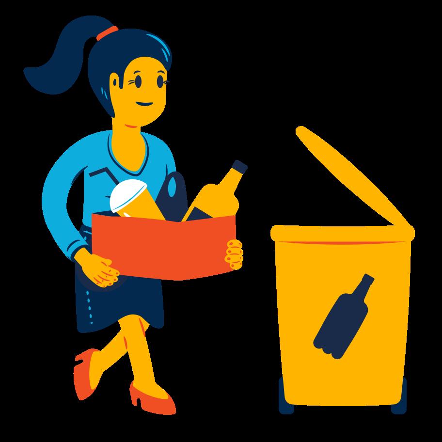 Plastic waste sorting Clipart illustration in PNG, SVG