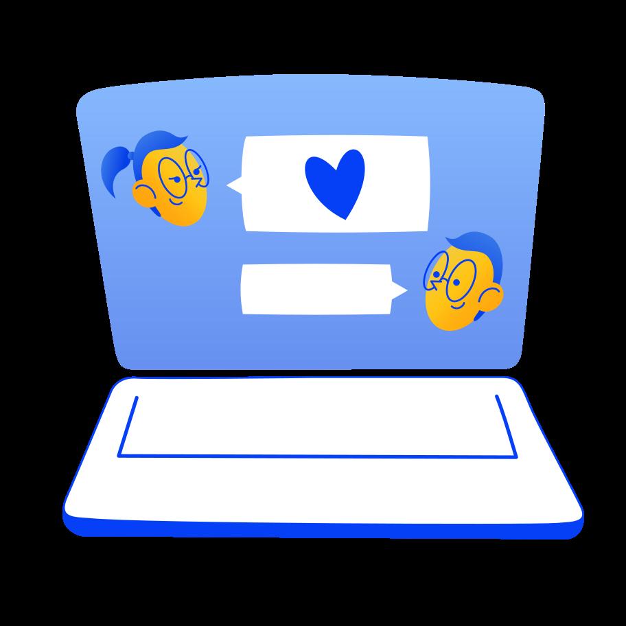 Ilustración de clipart de Love chat en PNG, SVG