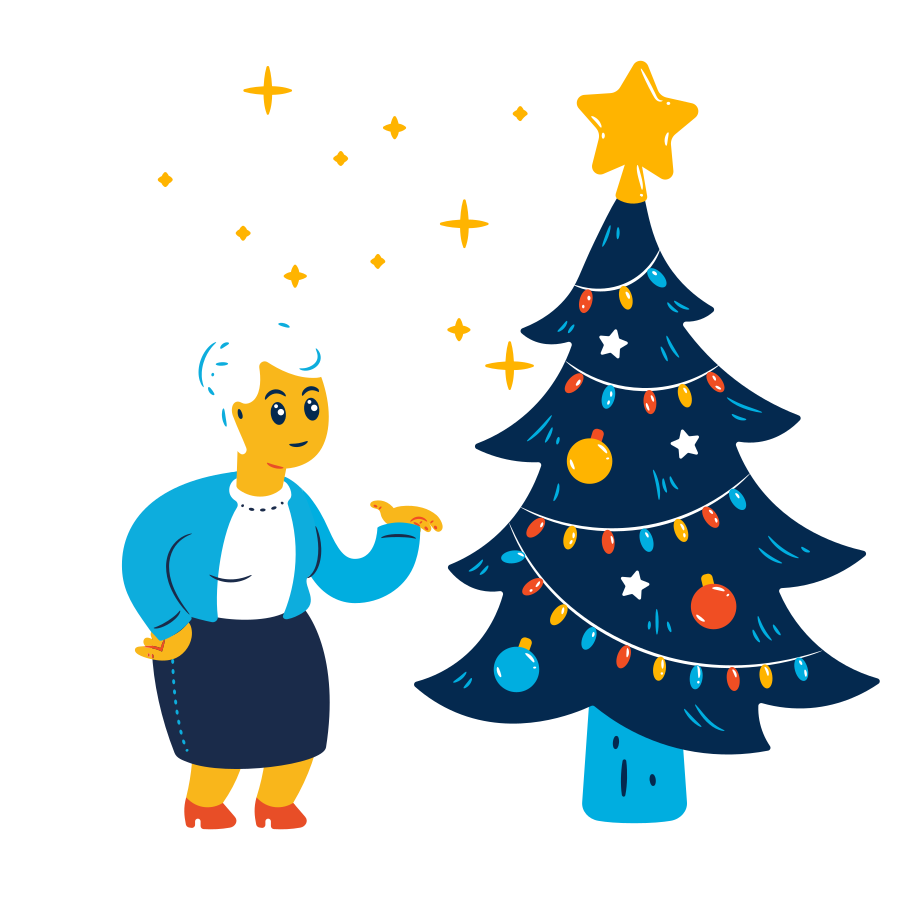 Old woman and christmas tree Clipart illustration in PNG, SVG