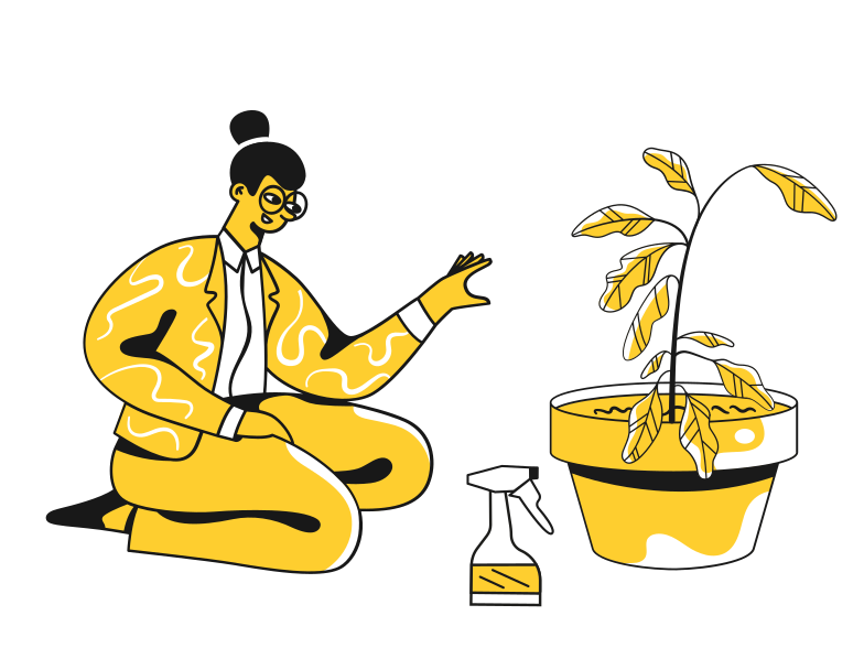 Woman growing a plant Clipart illustration in PNG, SVG