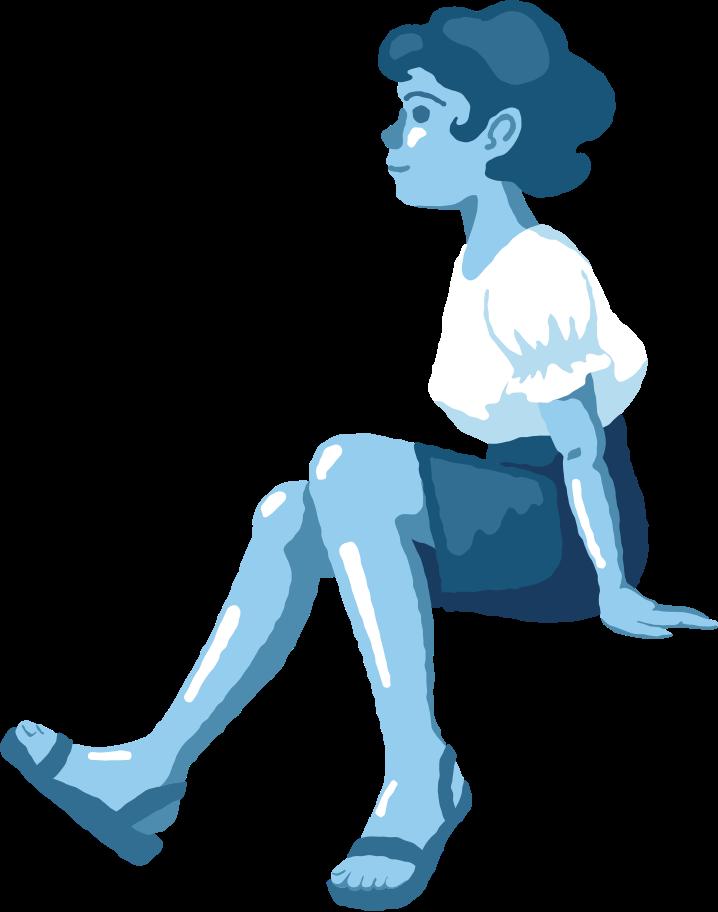 Ilustración de clipart de Chica sentada perfil en PNG, SVG