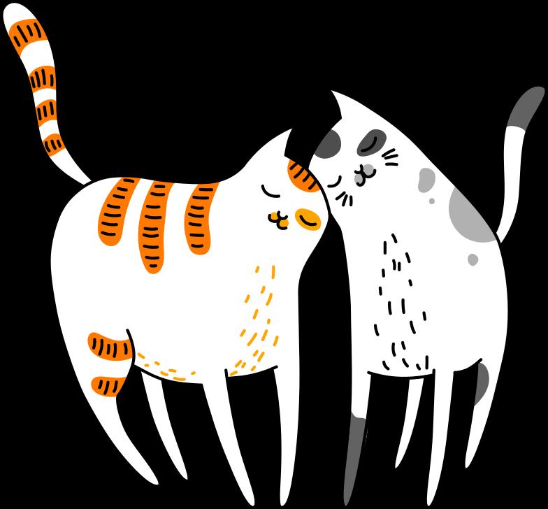 hugging cats Clipart illustration in PNG, SVG