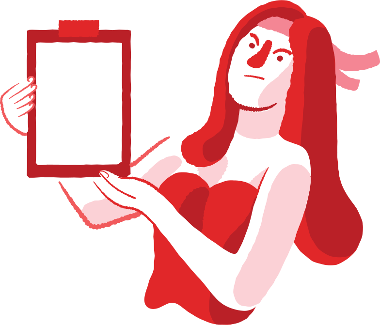 displeased woman with clipboard Clipart illustration in PNG, SVG
