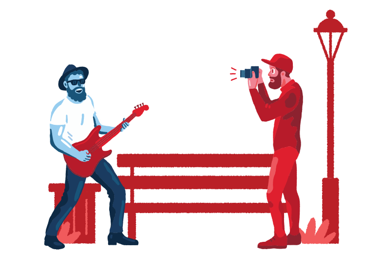 style Shooting street musician Vector images in PNG and SVG | Icons8 Illustrations