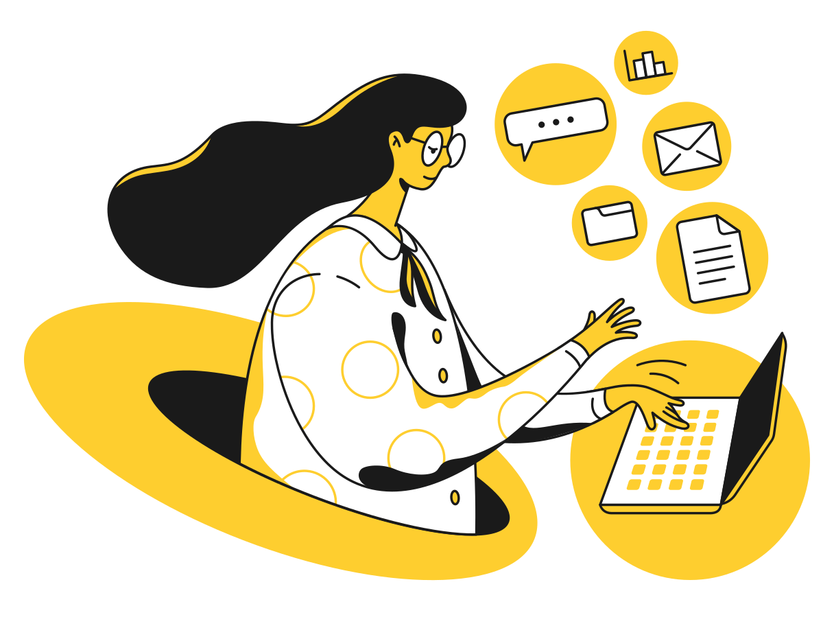 Woman working on computer Clipart illustration in PNG, SVG