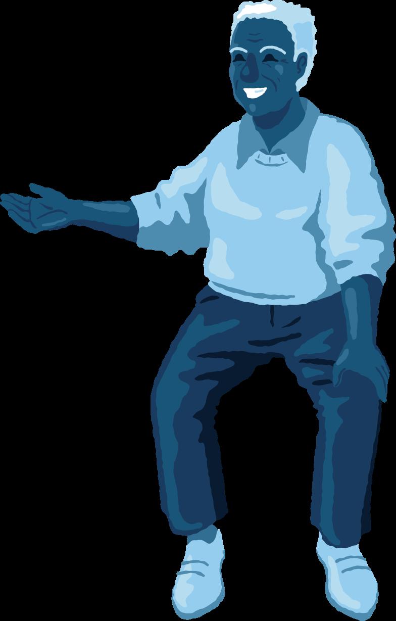 old man sitting front Clipart illustration in PNG, SVG