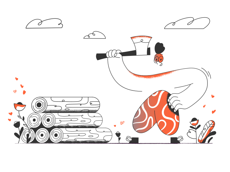 Woodcutter Clipart illustration in PNG, SVG