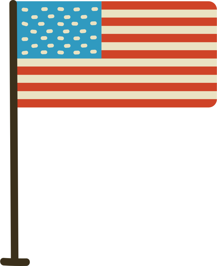 american flag with stand Clipart illustration in PNG, SVG