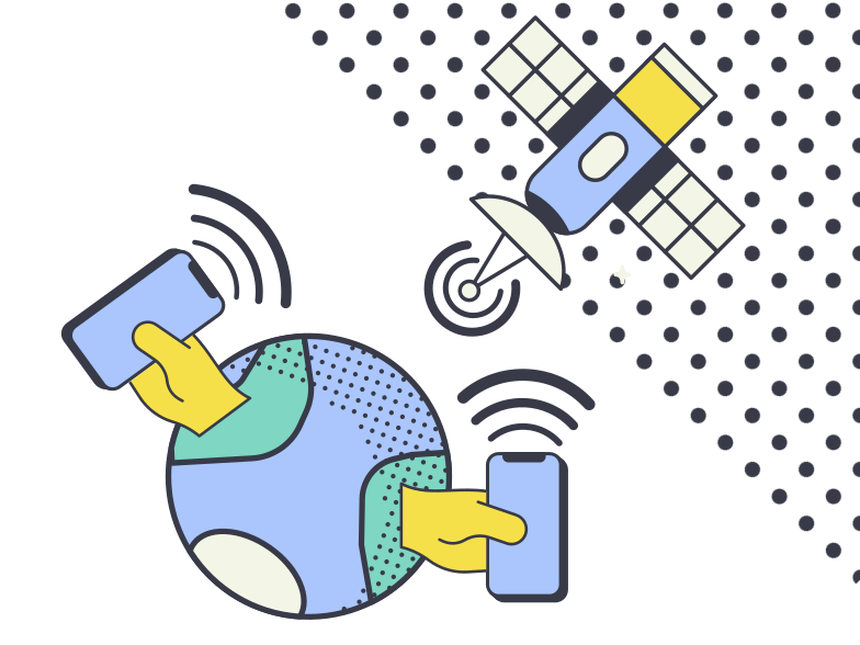 Connection through satellite Clipart illustration in PNG, SVG
