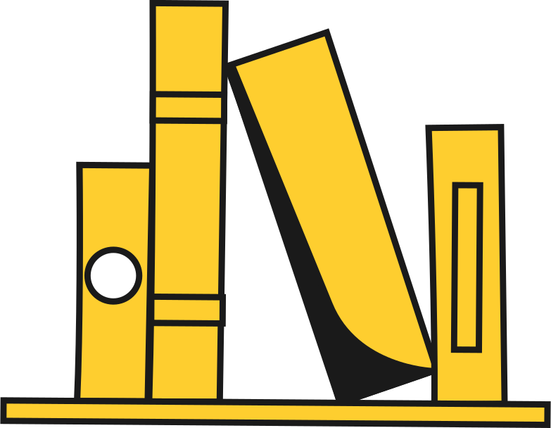 shelf with books Clipart illustration in PNG, SVG