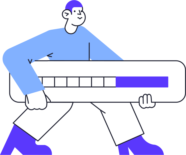 uploading  man with progress bar Clipart illustration in PNG, SVG