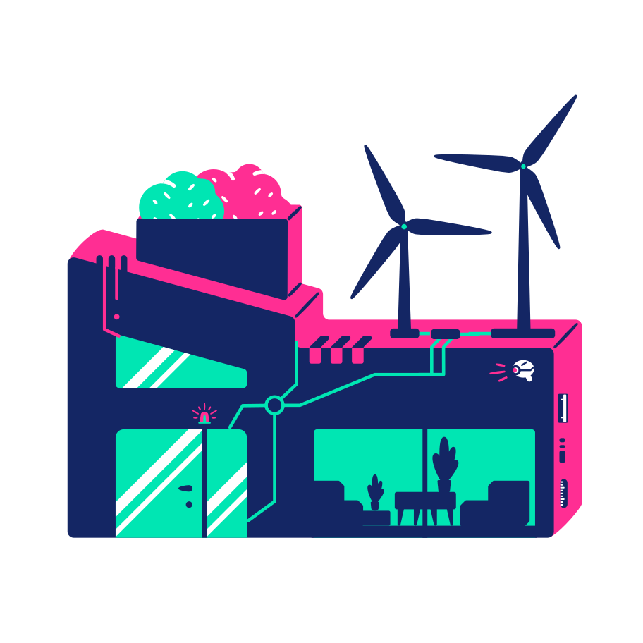 House on wind power Clipart illustration in PNG, SVG