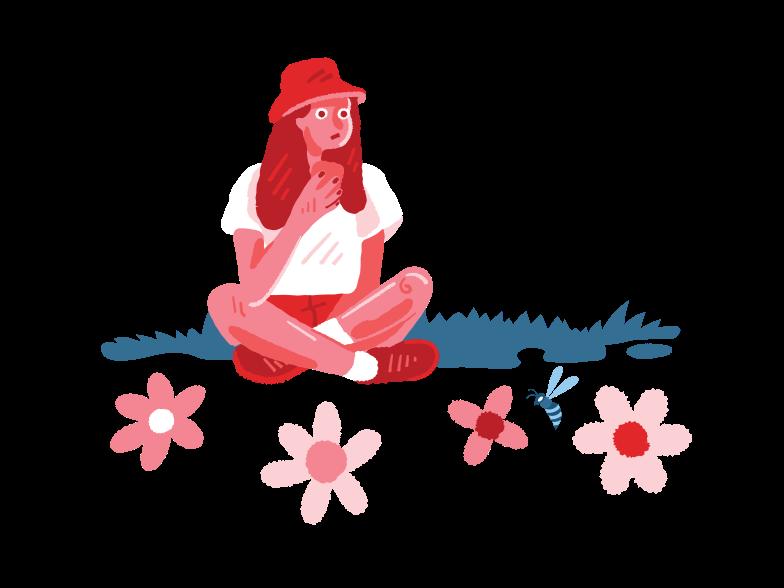 Иллюстрация Девушка на лугу в стиле  в PNG и SVG | Icons8 Иллюстрации