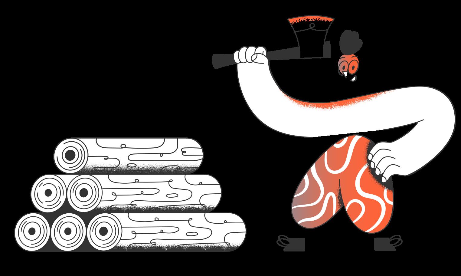 Ilustración de clipart de Leñador en PNG, SVG