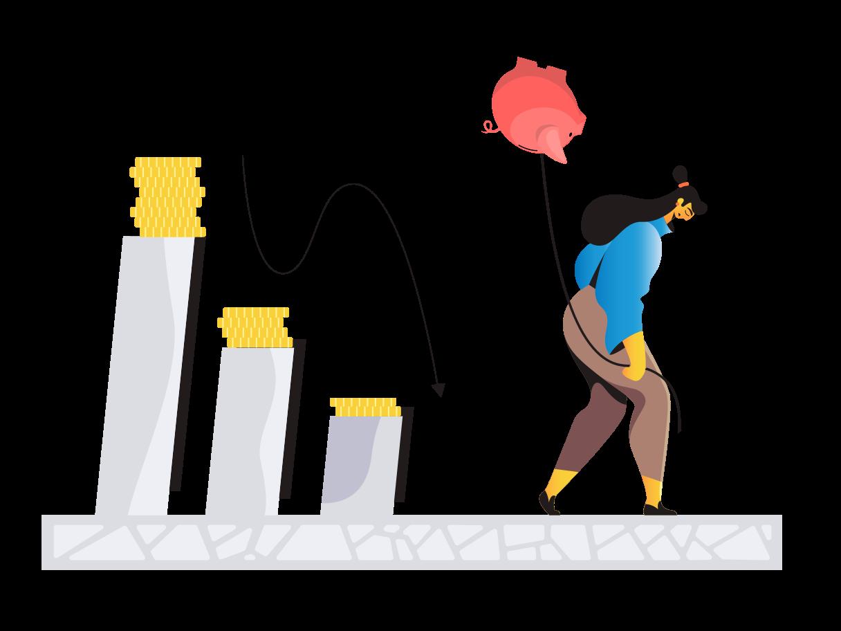 Financial decline Clipart illustration in PNG, SVG