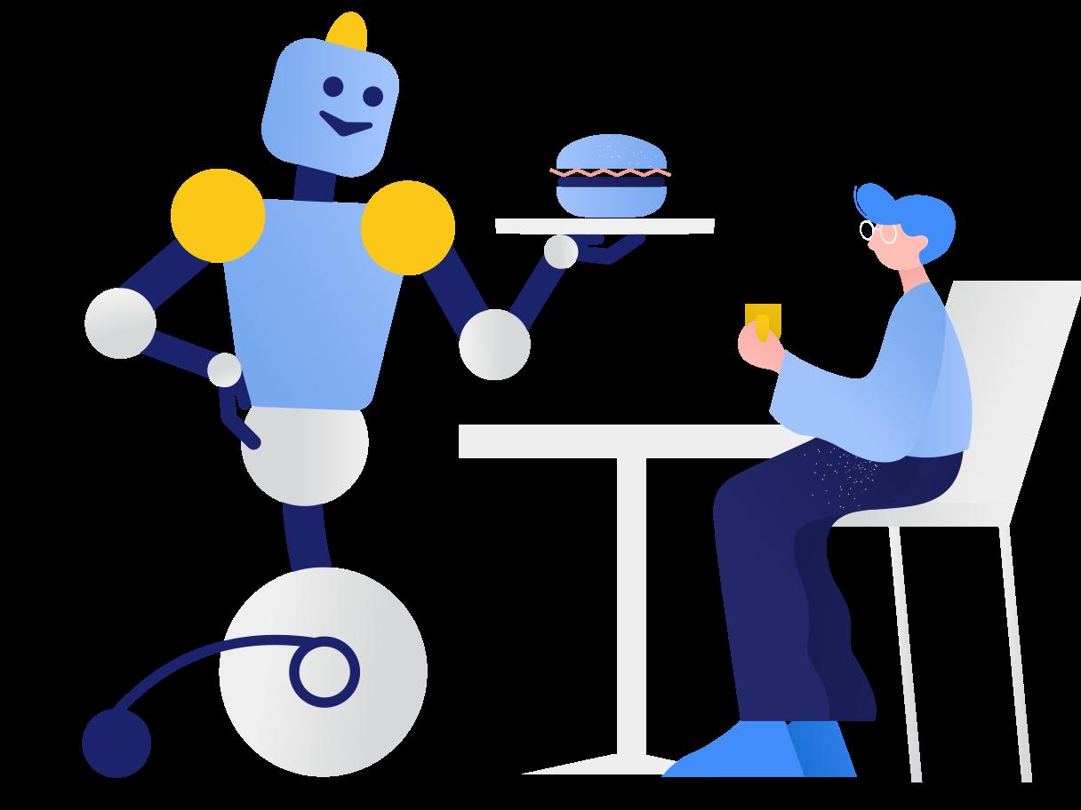 Robot waiter Clipart illustration in PNG, SVG