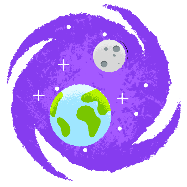 Earth and Moon Clipart illustration in PNG, SVG