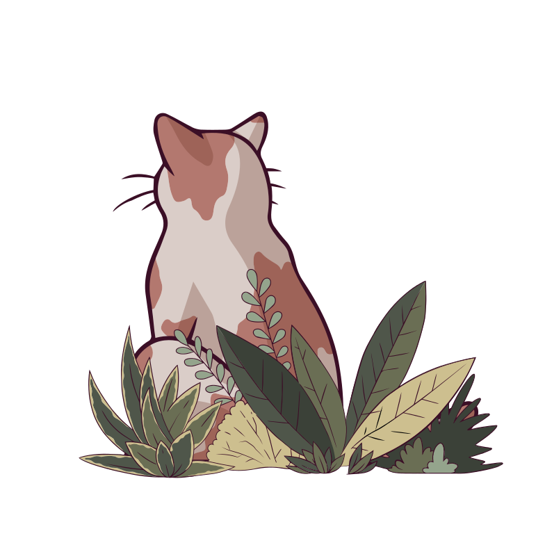 Cat in the bushes Clipart illustration in PNG, SVG