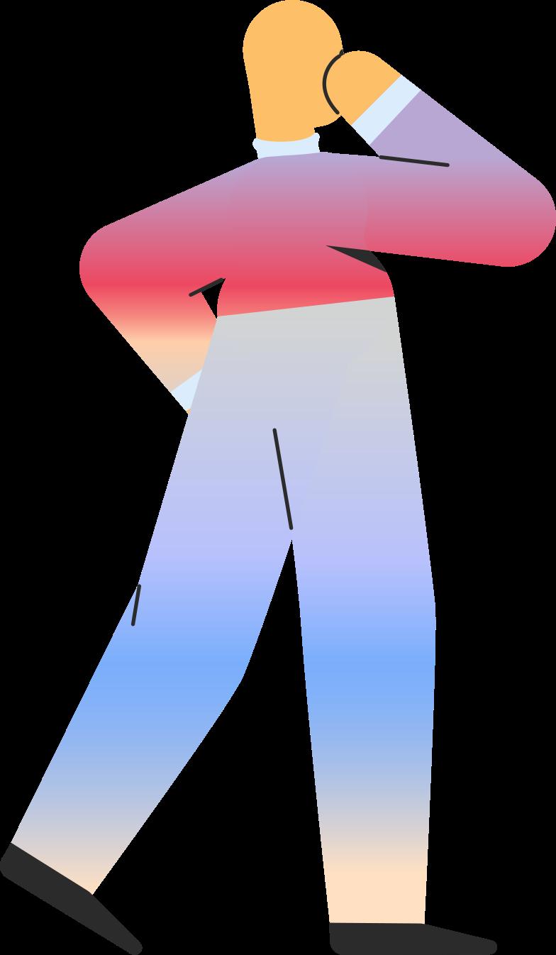 adult standing back Clipart illustration in PNG, SVG