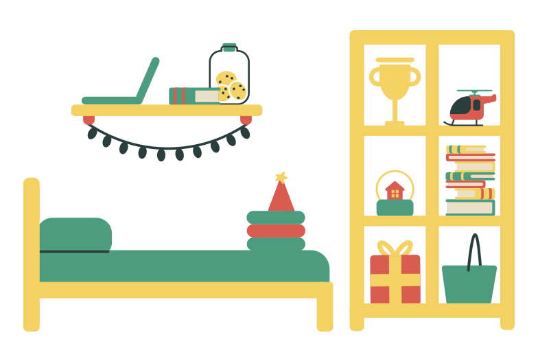 Child's bedroom Clipart illustration in PNG, SVG