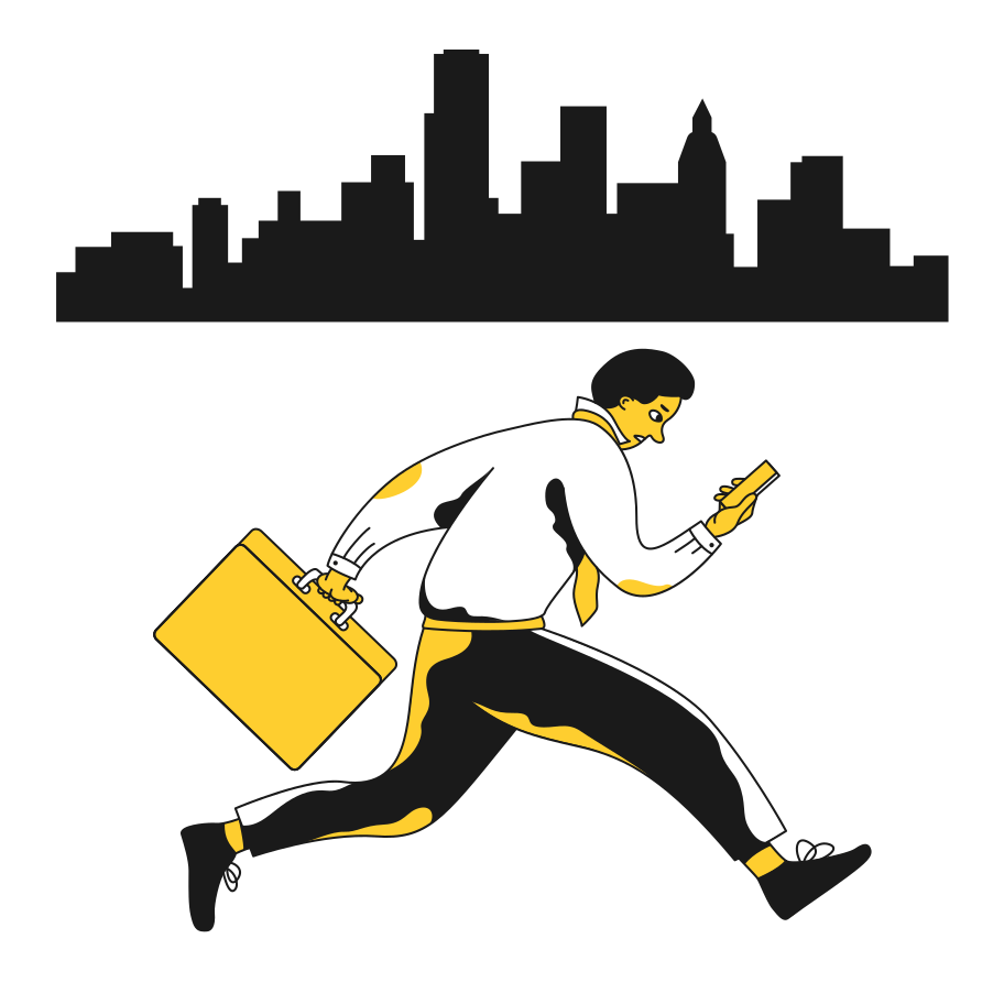 Businessman late for work Clipart illustration in PNG, SVG