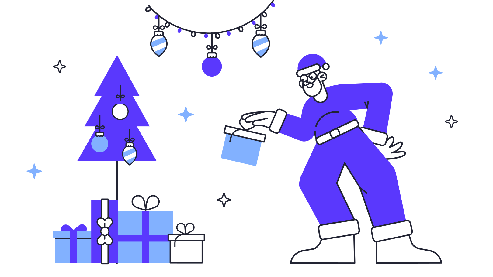 style Santa is leaving a present Vector images in PNG and SVG | Icons8 Illustrations