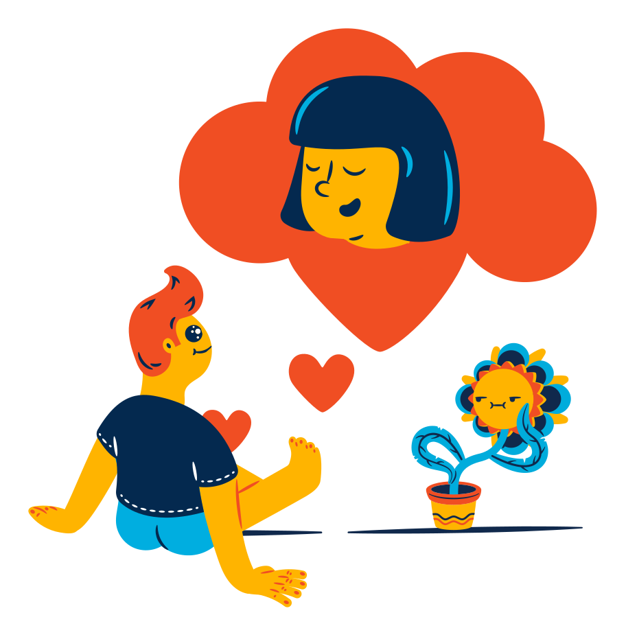 Thinking about love Clipart illustration in PNG, SVG
