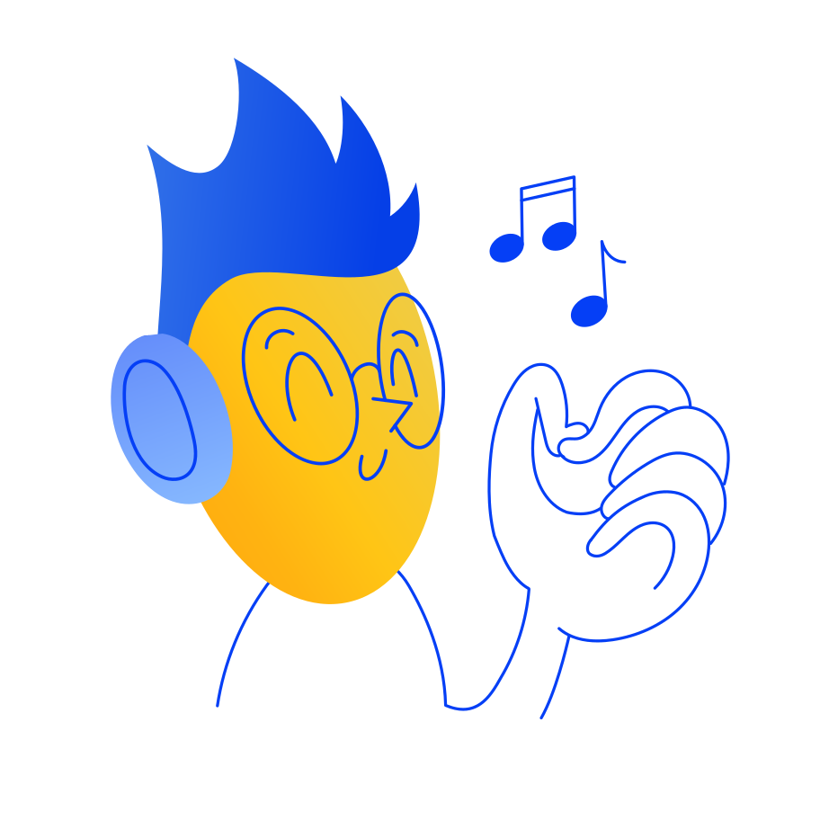 Listening music Clipart illustration in PNG, SVG