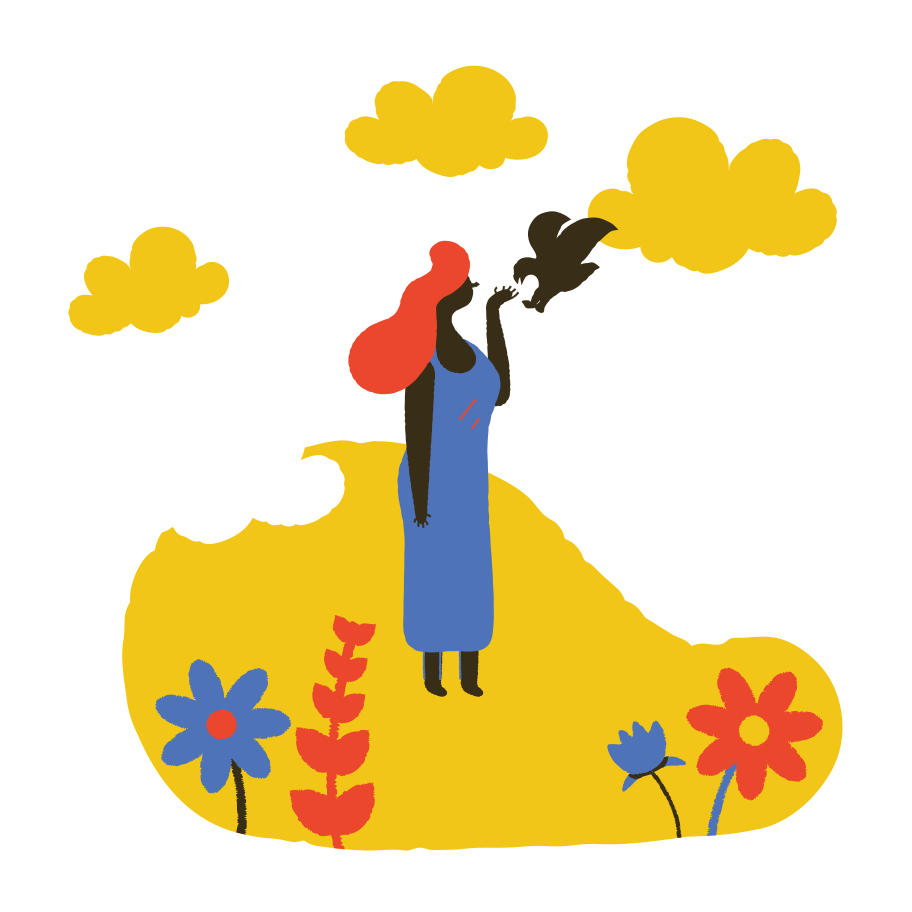 Woman feeds a bird from a hand Clipart illustration in PNG, SVG