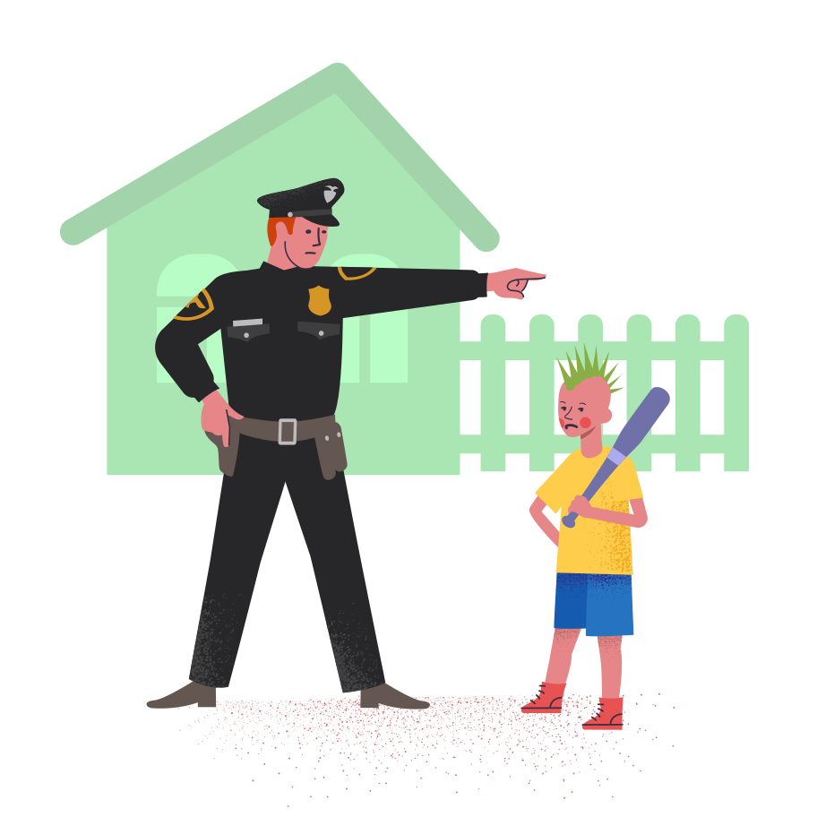 Policeman with bully boy Clipart illustration in PNG, SVG