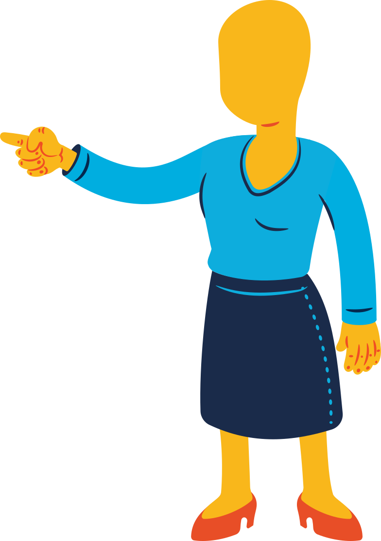 woman pointing Clipart illustration in PNG, SVG