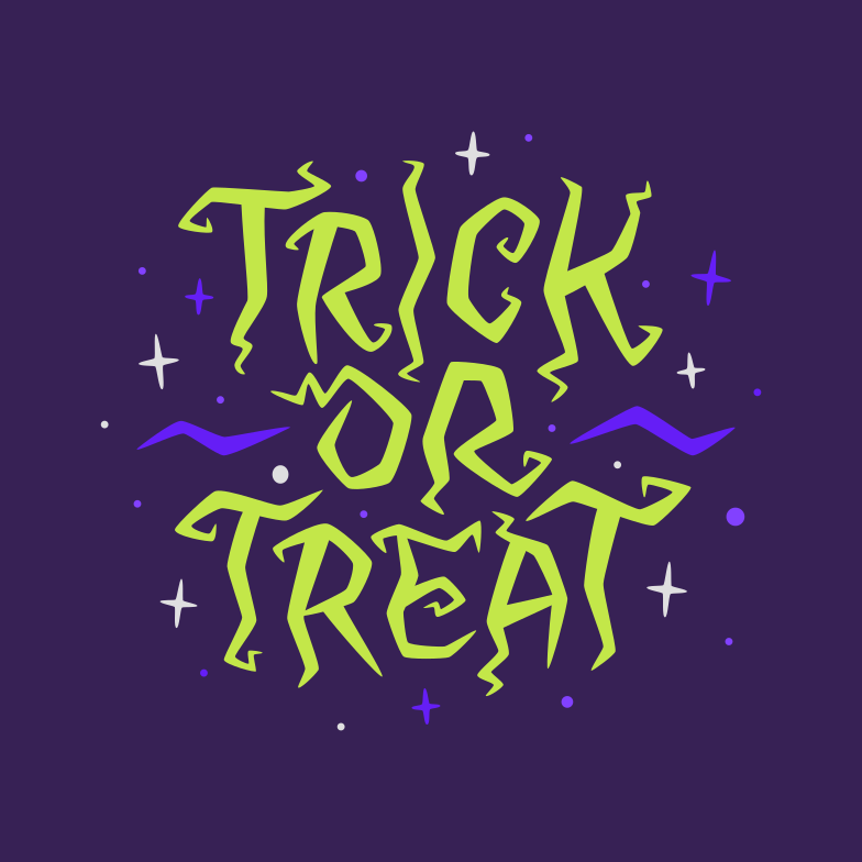 trick or treat witch green violet Clipart illustration in PNG, SVG