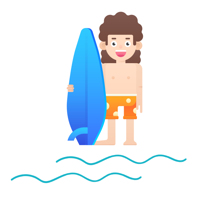 Surfing boy Clipart illustration in PNG, SVG