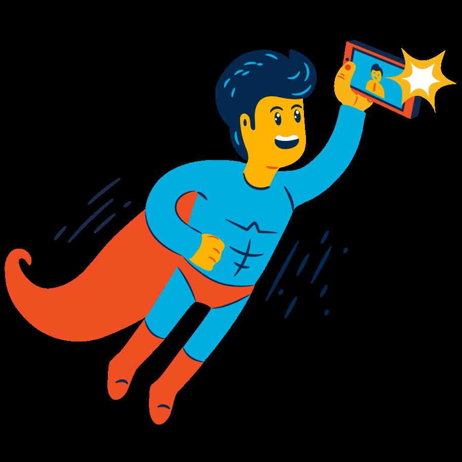 Superhero selfie Clipart illustration in PNG, SVG