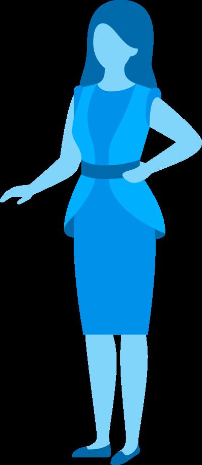 Ilustración de clipart de Mujer en tonos azules en PNG, SVG