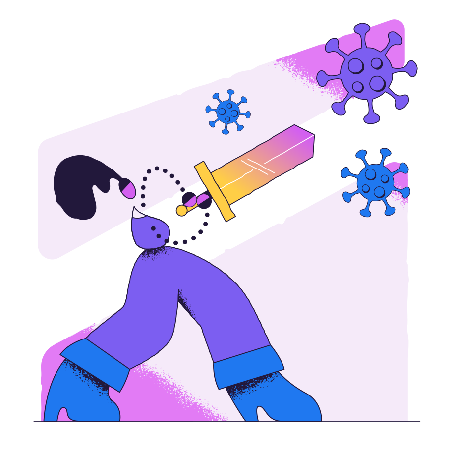 Fighting the virus Clipart illustration in PNG, SVG