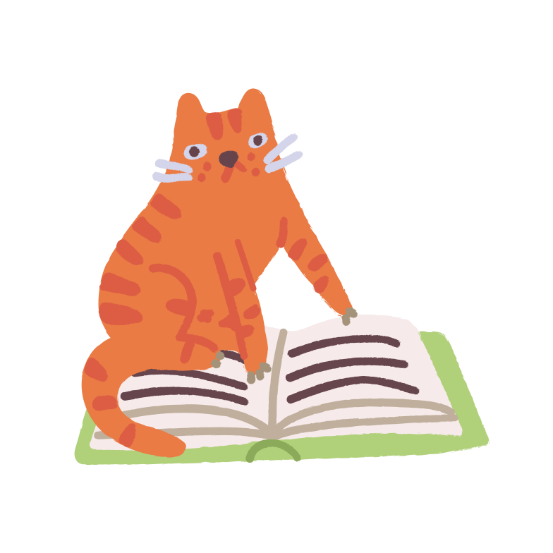 Cat is reading Clipart illustration in PNG, SVG