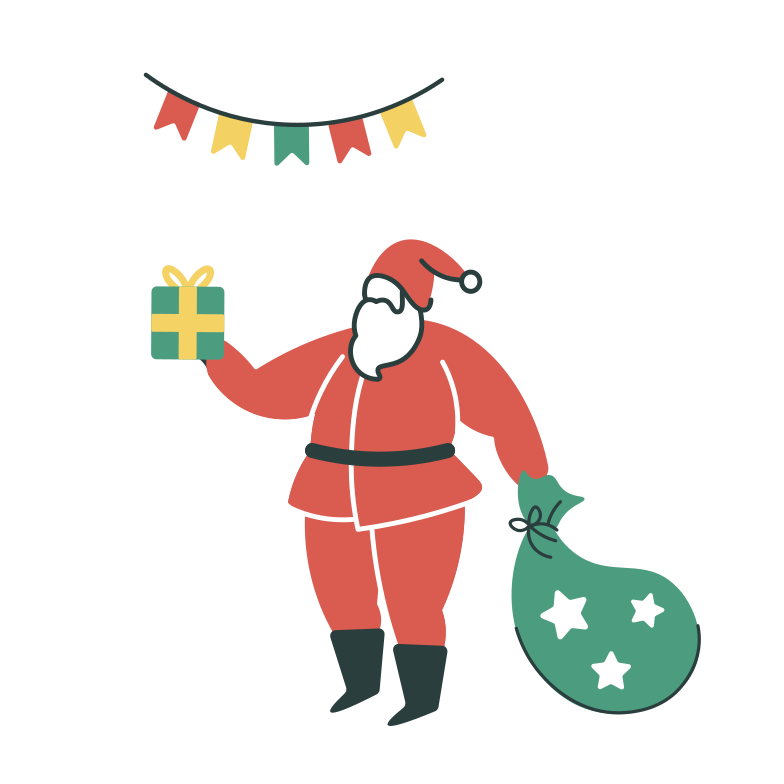 Santa with presents Clipart illustration in PNG, SVG