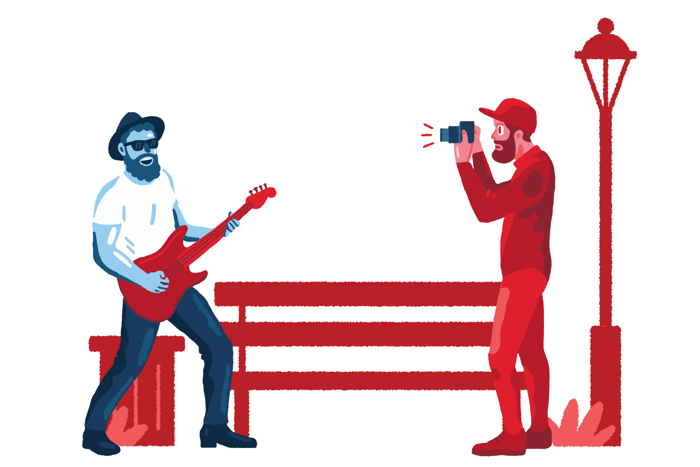 Shooting street musician Clipart illustration in PNG, SVG
