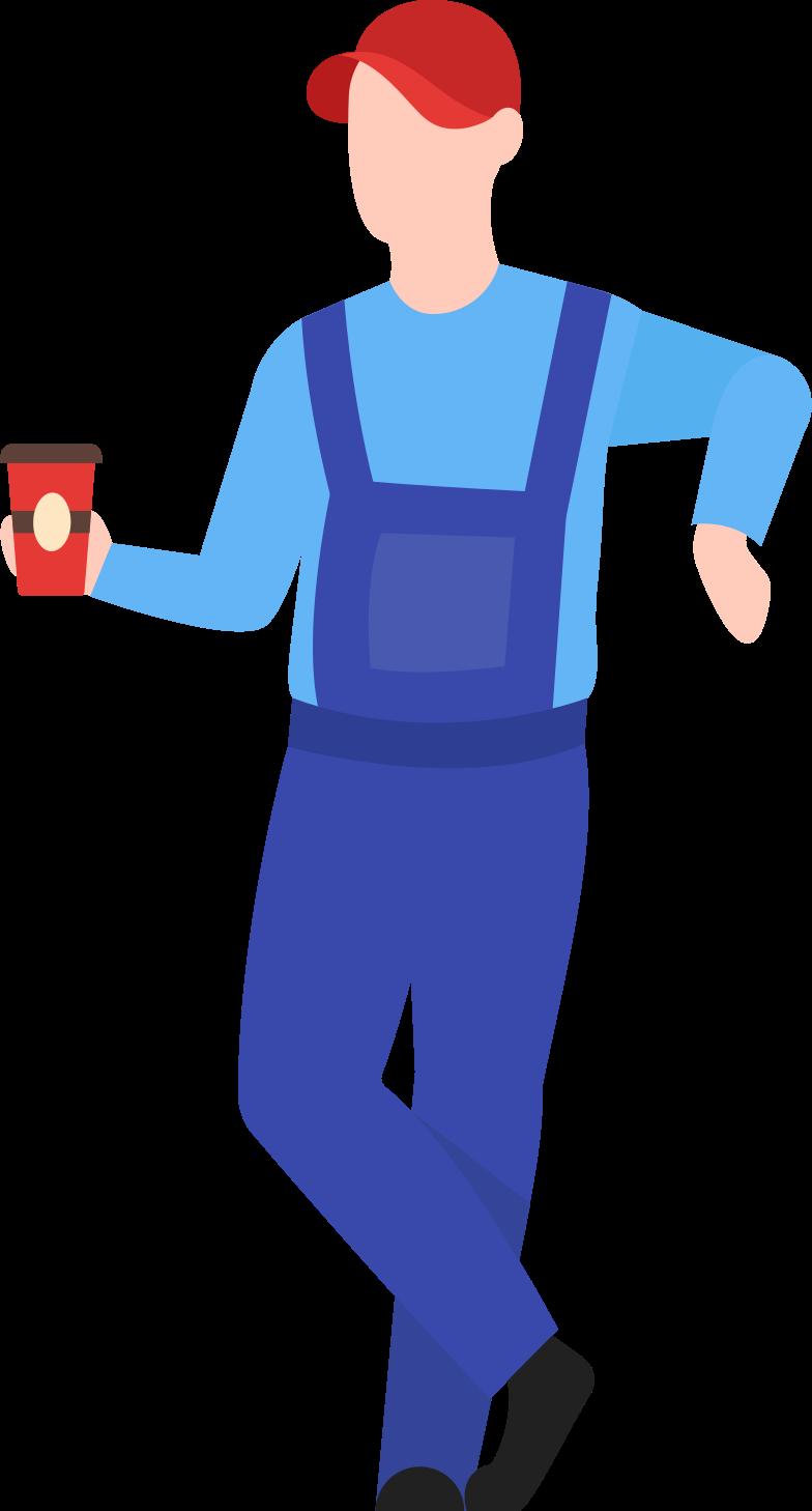 Ilustración de clipart de man with man warehouse worker with coffee en PNG, SVG