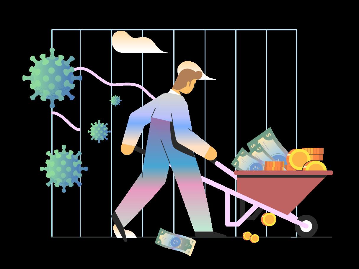 Money saving during coronavirus Clipart illustration in PNG, SVG